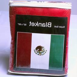 Mexican Flag Fleece Blanket 5 ft x 4.2 ft. Bandera de Méxic