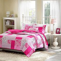 Mi-Zone Abbey Twin/Twin XL Girls Quilt Bedding Set - Hot Pin