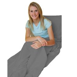 Gray Adult Travel Sheet/Sleep Sack - Durable and Super Soft,