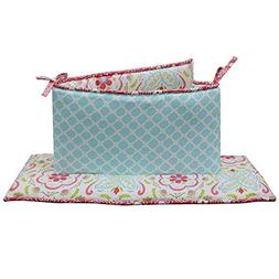 Mila 4 Piece Coral and Blue Floral and Ogee Crib Bumper by P