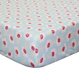 Mila Floral Fitted Crib Sheet - Coral and White Flowers on B