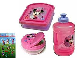 Minnie Mouse Water Bottle, Minnie Mouse Sandwich Keeper, and