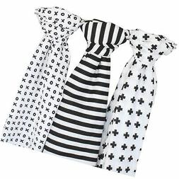 Muslin Baby Swaddle Blankets, 47x47  Black, White, XO, Strip