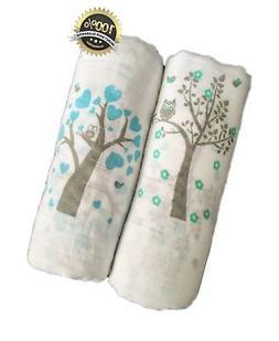 "Muslin Swaddle Blankets 2 Pack - Seben Baby - 47""x 47"" - 100"
