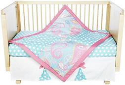 My Baby Sam Pixie Baby 3 Piece Crib Bedding Set, Aqua and Pi