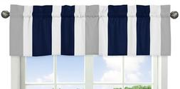 Sweet Jojo Designs Navy Blue, Gray and White Window Treatmen