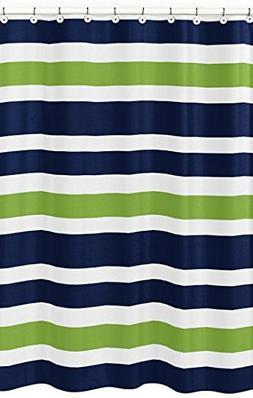 Sweet Jojo Designs Navy Blue, Lime Green and White Kids Bath