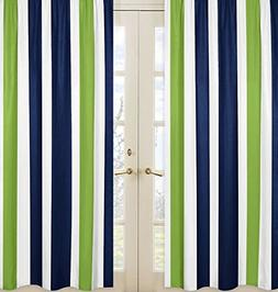 Sweet Jojo Designs 2-Piece Navy Blue, Lime Green and White W
