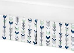 Sweet Jojo Designs Navy Blue, Mint and Grey Crib Bed Skirt D