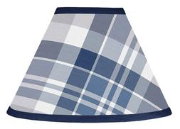 Navy Blue and Gray Plaid Boys Lamp Shade for Stripe Collecti