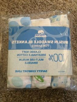 New - Premium Muslin Cotton Swaddle Blankets -3 pack Large 4