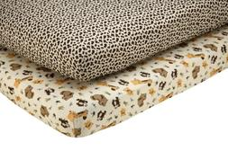 NoJo Little Bedding 2 Count Crib Sheet Set, Jungle Dreams