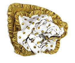 Onyx Arrow Baby Blanket, White Gold Metallic Dot Cotton Prin