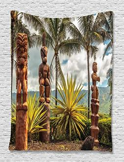 Ambesonne Palm Trees Tropical Island Ocean Hawaii Tiki Mask