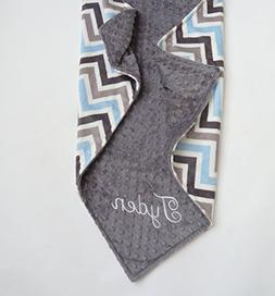 Personalize Double Minky Baby Blanket - Baby Blue/ Gray/Whit