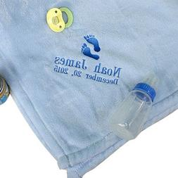 "Personalized Baby Boy Mink Blanket, Measures 30"" x 40""- Make"