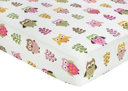 Pink Happy Owl Fitted Crib Sheet for Baby/Toddler Bedding by