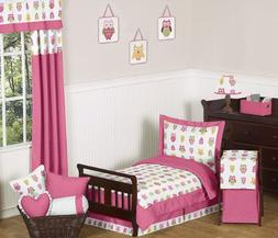 Pink Happy Owl Toddler 5 Piece Girl Bedding Set