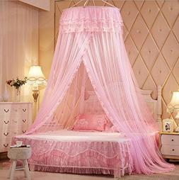 Pink Princess Round Lace Bed Canopies Mosquito Neting for Cr
