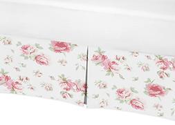 Sweet Jojo Designs Pink and Sage Green Floral Crib Bed Skirt