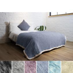 "Premium Melange Sherpa Throw Blanket Large 60""x80"" Microfibe"