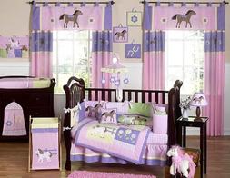 Pretty Pony Horse Western Baby Girl Bedding 9pc Crib Set by