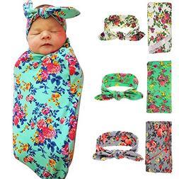 Newborn Baby Swaddle Blanket and Headband Value Set,Receivin