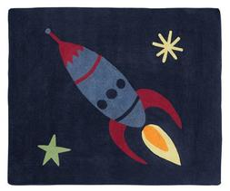 Rocket Ship Accent Floor Rug for Space Galaxy Kids Bedding C