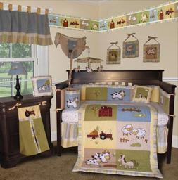 Sisi Baby Boy Boutique On The Farm 13 Pcs Crib Bedding