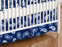 SheetWorld - MINI Crib Skirt  - Primary Paisley White On Nav