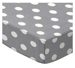 SheetWorld Round Crib Sheets - Polka Dots Grey - Made In USA