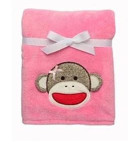 Sock Monkey Plush Pink Blanket