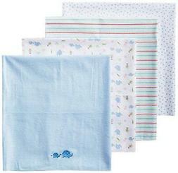 Spasilk Baby-Boy Newborn 4 Pack Flannel Receiving Blanket, B