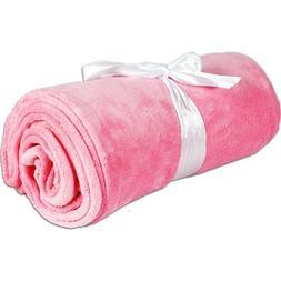 Super Soft Plush Fleece Blankets - By Threadart - Light Pink