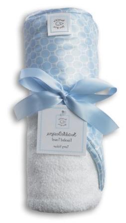 SwaddleDesigns Hooded Towel - Mini Mod Circles - Blue