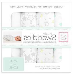 SwaddleDesigns Muslin Swaddle Blanket, Goodnight Starshine