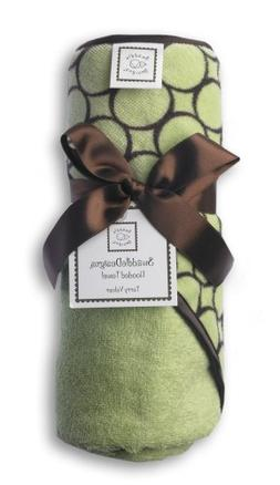 SwaddleDesigns Terry Velour Hooded Towel, Brown Mod Circles,