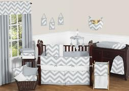 Sweet Jojo Designs 9-Piece Gray and White Chevron ZigZag Gen
