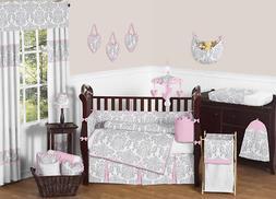Sweet Jojo Designs 9-Piece Pink, Gray and White Elizabeth Ba