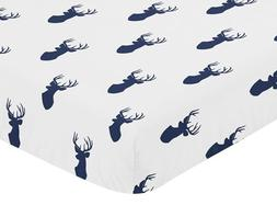Sweet Jojo Designs Fitted Crib Sheet for Navy and White Wood
