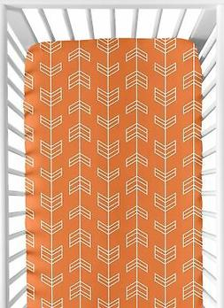 Sweet Jojo Designs Fitted Crib Sheet for Orange and Navy Arr