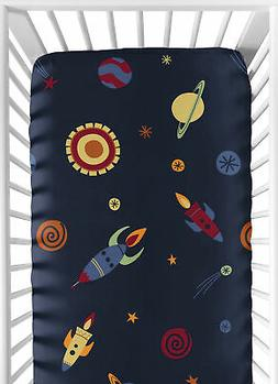 Sweet Jojo Designs Fitted Crib Sheet for Space Galaxy Baby/T