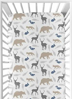 Sweet Jojo Designs Fitted Crib Sheet for Woodland Animals Ba