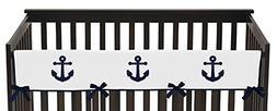 Sweet Jojo Designs Navy Blue and White Nautical Anchor Long