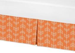 Sweet Jojo Designs Orange and White Crib Bed Skirt Dust Ruff