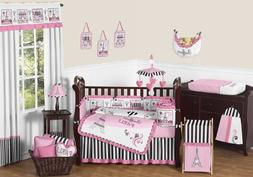 Sweet Jojo Designs 9-Piece Pink, Black and White Stripe Pari