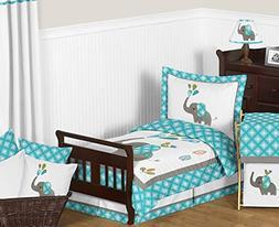 Sweet Jojo Designs Turquoise Blue Gray and White Mod Elephan