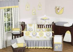 Sweet Jojo Designs 9-Piece Yellow, Gray and White Mod Garden