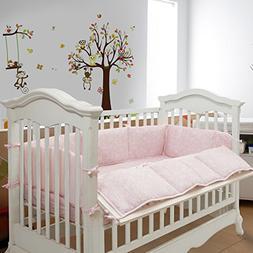 Tillyou Breathable Crib Bumper Cotton Sateen Crib Liner
