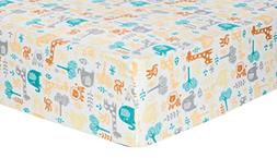 Trend Lab Deluxe Flannel Fitted Crib Sheet, Lullaby Zoo